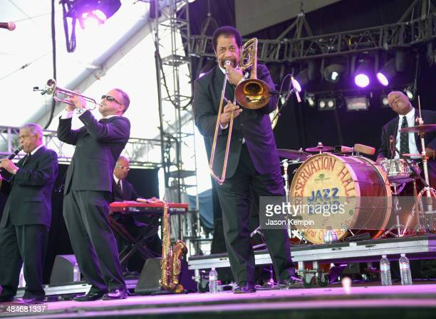 Musicians Charlie Gabriel Mark Braud Freddie Lonzo and Joseph Lastie Jr of the Preservation Hall Jazz Band perform onstage during day 3 of the 2014...