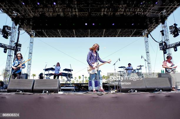 Musicians Charlie Salt Myles Kellock Tom Ogden Joe Donovan and Josh Dewhurst of Blossoms perform at the Outdoor Stage during day 2 of the Coachella...
