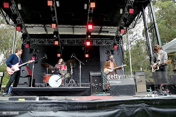 Musicians Charlie Saufley Meg Baird Ethan Miller and Noel Von Harmonson of Heron Oblivion perform on the Panhandle Stage during the 2016 Outside...