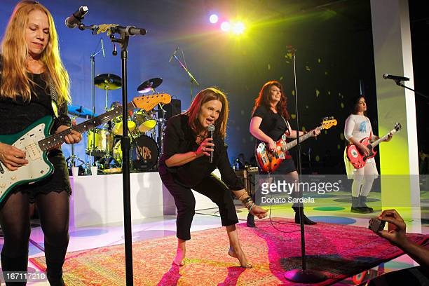 """Musicians Charlotte Caffey Belinda Carlisle Gina Schock with Abby Travis and Jane Wiedlin of The GoGo's perform at """"Yesssss"""" MOCA Gala 2013..."""