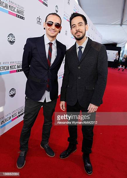 Musicians Chester Bennington and Mike Shinoda of Linkin Park attend the 40th American Music Awards held at Nokia Theatre LA Live on November 18 2012...