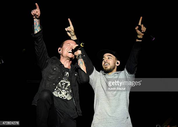 Musicians Chester Bennington and Mike Shinoda of Linkin Park perform onstage during Rock In Rio USA at the MGM Resorts Festival Grounds on May 9 2015...
