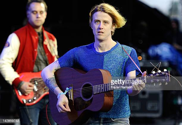 Musicians Chet 'JR' White and Christopher Owens of the band Girls perform during Day 1 of the 2012 Coachella Valley Music Arts Festival held at the...