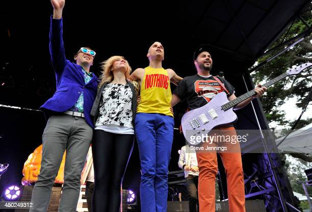 Musicians Chris Allen Elaine Bradley Tyler Glenn and Branden Campbell of the band Neon Trees pose onstage during Chipotle's Cultivate San Francisco...