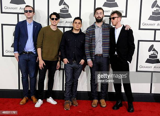 Musicians Chris Baio Ezra Koenig Rostam Batmanglij Chris Tomson of Vampire Weekend and producer Ariel Rechtshaid attend the 56th GRAMMY Awards at...