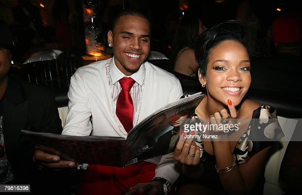 Musicians Chris Brown and Rhianna pose at Entertainment Weekly's toast to Antonio LA Reid at STKLA on February 10 2008 in West Hollywood California