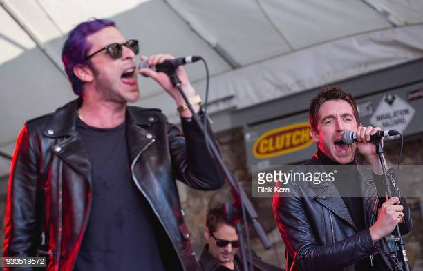 Musicians Chris Cester and Miles Kane of Dr Pepper's Jaded Hearts Club Band perform onstage during Rachael Ray's Feedback at Stubb's BarBQ on March...