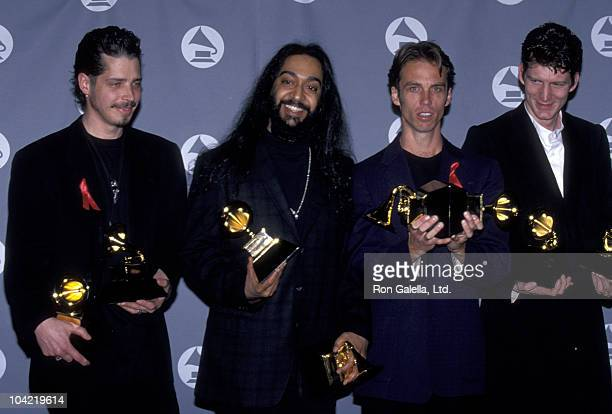 Musicians Chris Cornell Kim Thayil Matt Cameron and Ben Shepherd of Soundgarden attend 37th Annual Grammy Awards on March 1 1995 at the Shrine...