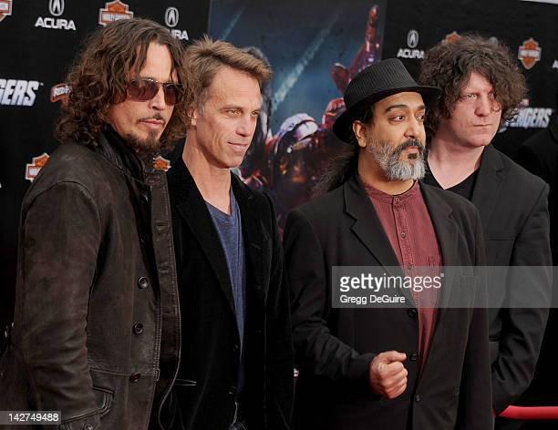 "Musicians Chris Cornell, Matt Cameron, Kim Thayil and Ben Shepherd of Soundgarden arrive at the Los Angeles premiere of ""Marvel's Avengers"" at the El..."