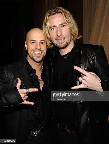 Musicians Chris Daughtry and Chad Kroeger attend the 2008 Clive Davis PreGRAMMY party at the Beverly Hilton Hotel on February 9 2008 in Los Angeles...