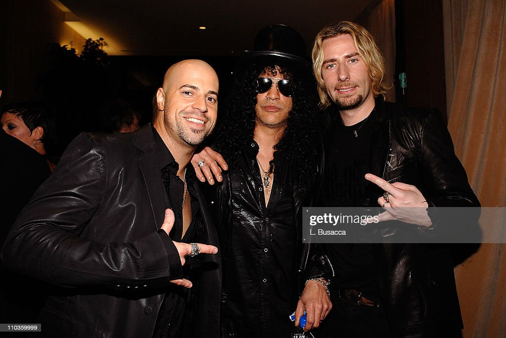 Musicians Chris Daughtry, Slash, and Chad Kroeger attends the 2008 Clive Davis Pre-GRAMMY party at the Beverly Hilton Hotel on February 9, 2008 in Los Angeles, California.
