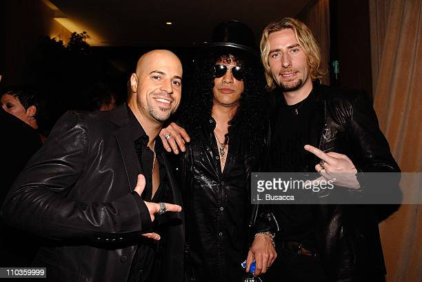Musicians Chris Daughtry Slash and Chad Kroeger attends the 2008 Clive Davis PreGRAMMY party at the Beverly Hilton Hotel on February 9 2008 in Los...