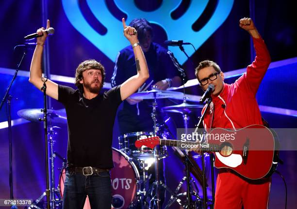 Musicians Chris Janson and Bobby Bones and the Raging Idiots perform onstage during the 2017 iHeartCountry Festival A Music Experience by ATT at The...