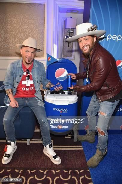 Musicians Chris Lucas and Preston Brust of LOCASH attend the Pepsi Rookie Brunch Celebrating Saquon Barkley as 2018 Pepsi NFL Rookie of The Year at...