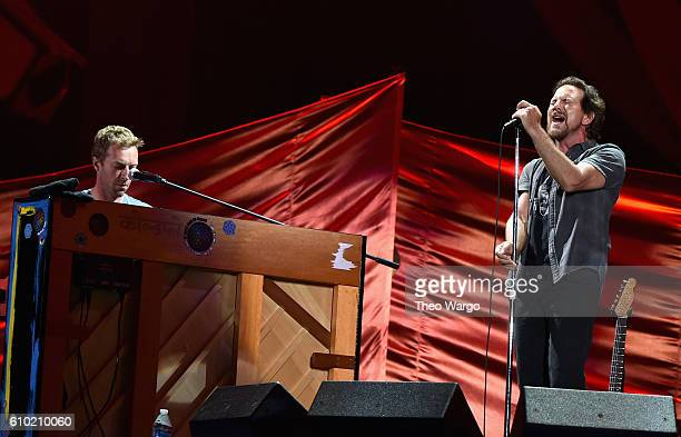 Musicians Chris Martin and Eddie Vedder perform onstage at the 2016 Global Citizen Festival In Central Park To End Extreme Poverty By 2030 at Central...