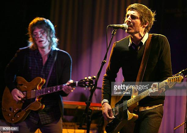 Musicians Chris Sachtleben and Dan Layus of Augustana perform at the Tribeca ASCAP Music Lounge held at the Canal Room during the 2008 Tribeca Film...