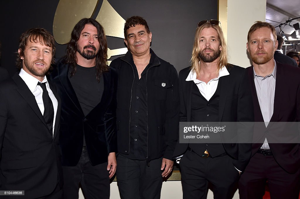Musicians Chris Shiflett, Dave Grohl, Pat Smear, Taylor Hawkins and Nate Mendel of Foo Fighters attend The 58th GRAMMY Awards at Staples Center on February 15, 2016 in Los Angeles, California.