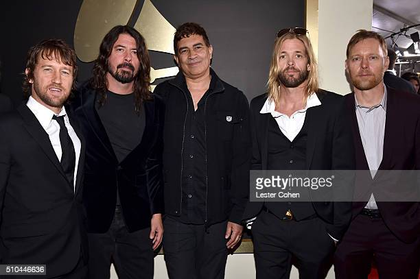Musicians Chris Shiflett Dave Grohl Pat Smear Taylor Hawkins and Nate Mendel of Foo Fighters attend The 58th GRAMMY Awards at Staples Center on...