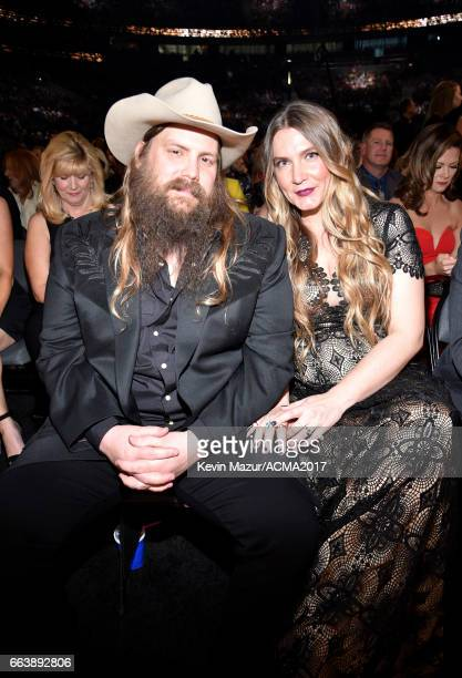 Musicians Chris Stapleton and Morgane Stapleton attend the 52nd Academy Of Country Music Awards at TMobile Arena on April 2 2017 in Las Vegas Nevada