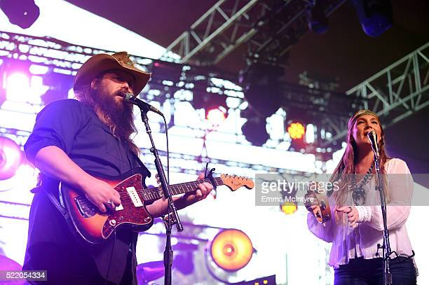 Musicians Chris Stapleton and Morgane Stapleton perform onstage during day 3 of the 2016 Coachella Valley Music And Arts Festival Weekend 1 at the...