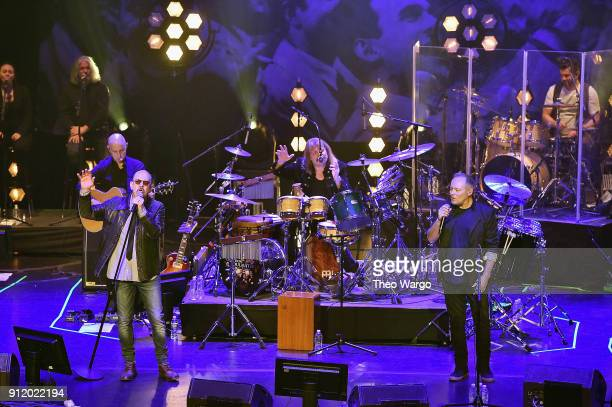 Musicians Chris Thompson Leslie Mandoki and Nick Van Eede perform onstage during the ManDoki Soulmates Wings Of Freedom concert at The Beacon Theatre...