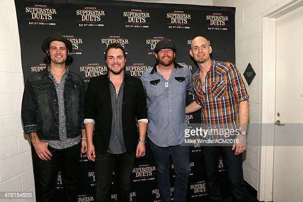 Musicians Chris Thompson Mike Eli James Young and Jon Jones of the Eli Young Band attend ACM Presents Superstar Duets at Globe Life Park in Arlington...