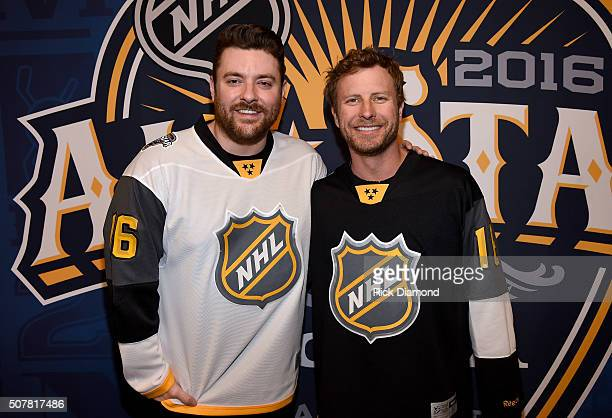 Musicians Chris Young and Dierks Bentley attend The 2016 NHL AllStar Game on January 31 2016 in Nashville Tennessee