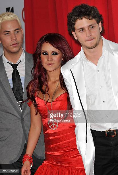 Musicians Christian Chavez Dulce Maria and Christopher Uckermann of RBD attend the 2008 Billboard Latin Music Awards at the Seminole Hard Rock Hotel...