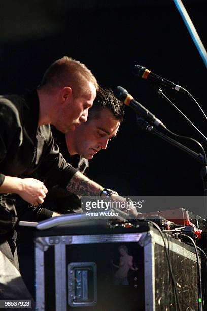 Musicians Christian Karlsson and Pontus Winnberg of the music group Miike Snow perform during day three of the Coachella Valley Music Arts Festival...