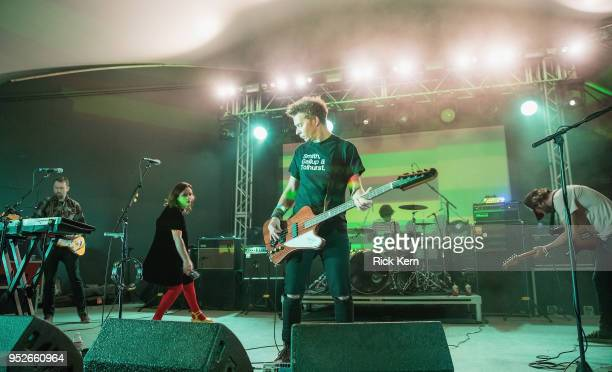Musicians Christian Savill Rachel Goswell Nick Chaplin Simon Scott and Neil Halstead of Slowdive perform onstage during Levitation at Stubb's BarBQ...