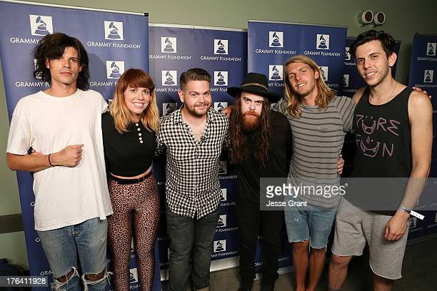 Musicians Christian Zucconi Hannah Hooper Jack Osbourne Sean Gadd Andrew Wessen and Ryan Rabin attend a concert to benefit The GRAMMY Foundaton and...