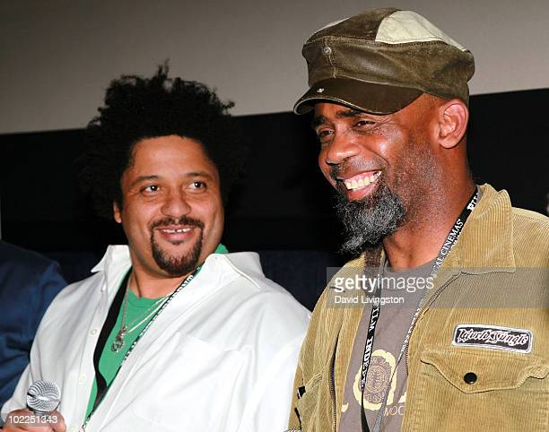 Musicians Christopher Dowd and Norwood Fisher of Fishbone speak onstage during the Everyday Sunshine QA during the 2010 Los Angeles Film Festival at...
