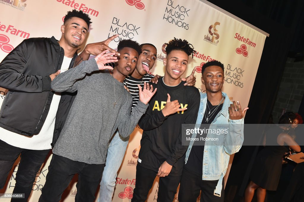 Musicians Christopher Louis, Leon Outlaw Jr., Terence Thomas, Malik Knighten and Tre'Von Waters of Next Town Down arrive at the 2017 Black Music Honors at Tennessee Performing Arts Center on August 18, 2017 in Nashville, Tennessee.