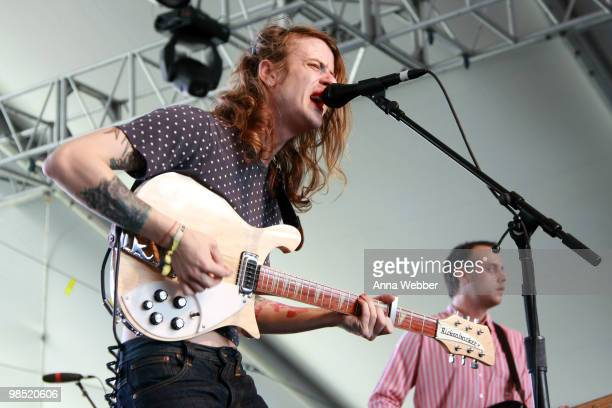 Musicians Christopher Owens and Chet Jr White of the band Girls perform during day two of the Coachella Valley Music Arts Festival 2010 held at the...