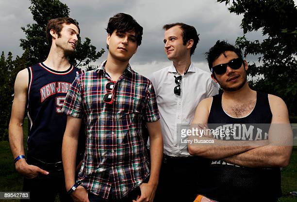 Musicians Christopher Tomsom Ezra Koenig Chris Baio and Rostam Batmanglij of Vampire Weekend attend the 2009 All Points West Music Arts Festival at...