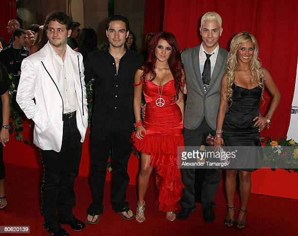 Musicians Christopher Uckermann Christopher Uckermann Dulce Mara Christian Chavez and Anahi of RBD attend the 2008 Billboard Latin Music Awards at...