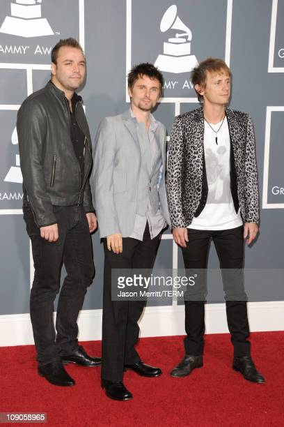 Musicians Christopher Wolstenholme, Matthew Bellamy, and Dominic Howard of Muse arrive at The 53rd Annual GRAMMY Awards held at Staples Center on...
