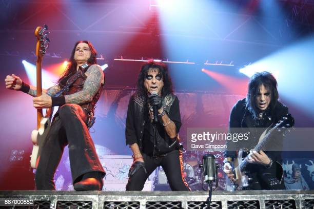Musicians Chuck Garric Alice Cooper and Tommy Henriksen perform at The Trusts Arena on October 27 2017 in Auckland New Zealand