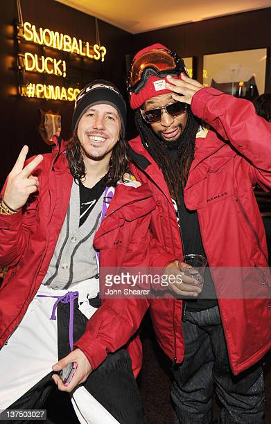 Musicians Cisco Adler and Lil Jon attend Day 2 of the Puma Social Lounge at TMobile Google Music Village at The Lift on January 21 2012 in Park City...