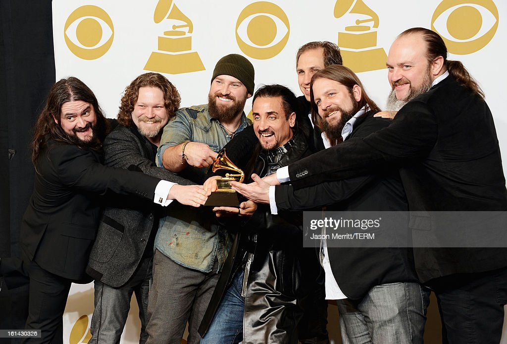 Musicians Clay Cook, Chris Fryar, Zac Brown, Daniel Reyes, Jimmy Martini, Coy Bowles and John Hopkins of Zac Brown Band, winners of Best Country Album award for 'Uncaged,' pose in the press room at the 55th Annual GRAMMY Awards at Staples Center on February 10, 2013 in Los Angeles, California.