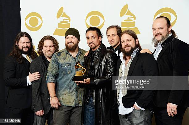 Musicians Clay Cook Chris Fryar Zac Brown Daniel Reyes Jimmy Martini Coy Bowles and John Hopkins of Zac Brown Band winners of Best Country Album...