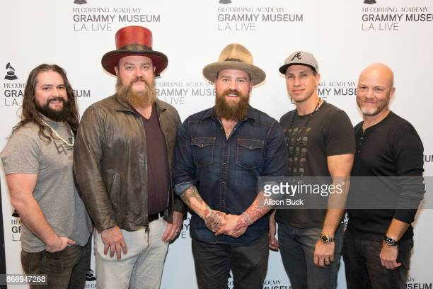 Musicians Clay Cook Coy Bowles Zac Brown Jimmy De Martini and Matt Mangano of the Zac Brown Band attend An Evening With Zac Brown Band on October 26...