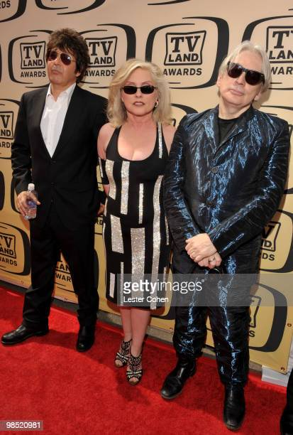 Musicians Clem Burke Debbie Harry and Chris Stein of Blondie arrive at the 8th Annual TV Land Awards at Sony Studios on April 17 2010 in Los Angeles...