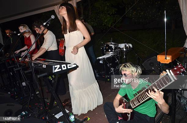 Musicians Clemence Quelennec Marlon Magnee Clara Luciani and Nunez of La Femme perform during the Veillee Foodstock Party 2nd Night At MAC/VAL on May...