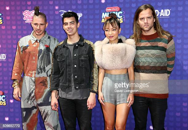 Musicians Cole Whittle Joe Jonas JinJoo Lee and Jack Lawless of DNCE attend the 2016 Radio Disney Music Awards at Microsoft Theater on April 30 2016...