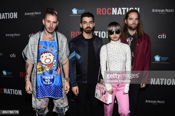 Musicians Cole Whittle Joe Jonas JinJoo Lee and Jack Lawless of the band DNCE arrive at Roc Nation's PreGRAMMY Brunch on February 11 2017 in Los...