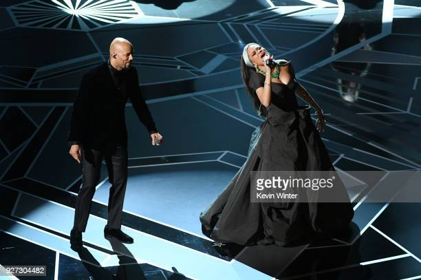 Musicians Common and Andra Day perform onstage during the 90th Annual Academy Awards at the Dolby Theatre at Hollywood Highland Center on March 4...