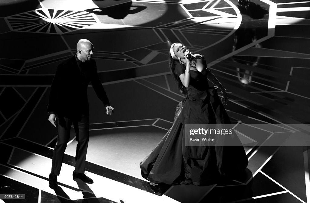Musicians Common (L) and Andra Day perform onstage during the 90th Annual Academy Awards at the Dolby Theatre at Hollywood & Highland Center on March 4, 2018 in Hollywood, California.