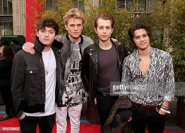 Musicians Connor Ball Tristan Evans James McVey and Brad Simpson of The Vamps attends the premiere of DreamWorks Animation and Twentieth Century...