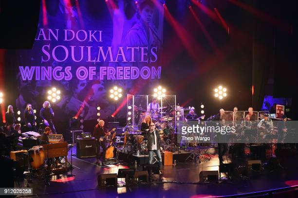 Musicians Cory Henry Chris Thompson Bobby Kimball Leslie Mandoki Nick Van Eede Julia Mandoki John Helliwell Randy Brecker and Bill Evans perform...